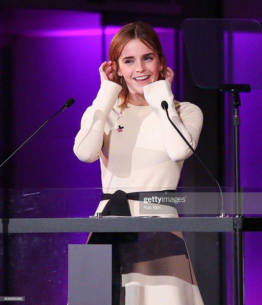 Emma Watson speaks at HeForShe 2nd Anniversary Reception at Museum of Modern Art on September 20, 2016 in New York City.