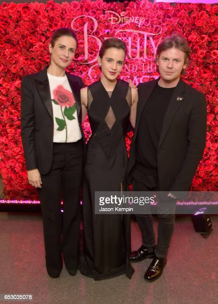 Emma Watson with Livia Firth founder of EcoAge a sustainable brand consultancy and designer Christopher Kane who collaborated to create a beautiful...