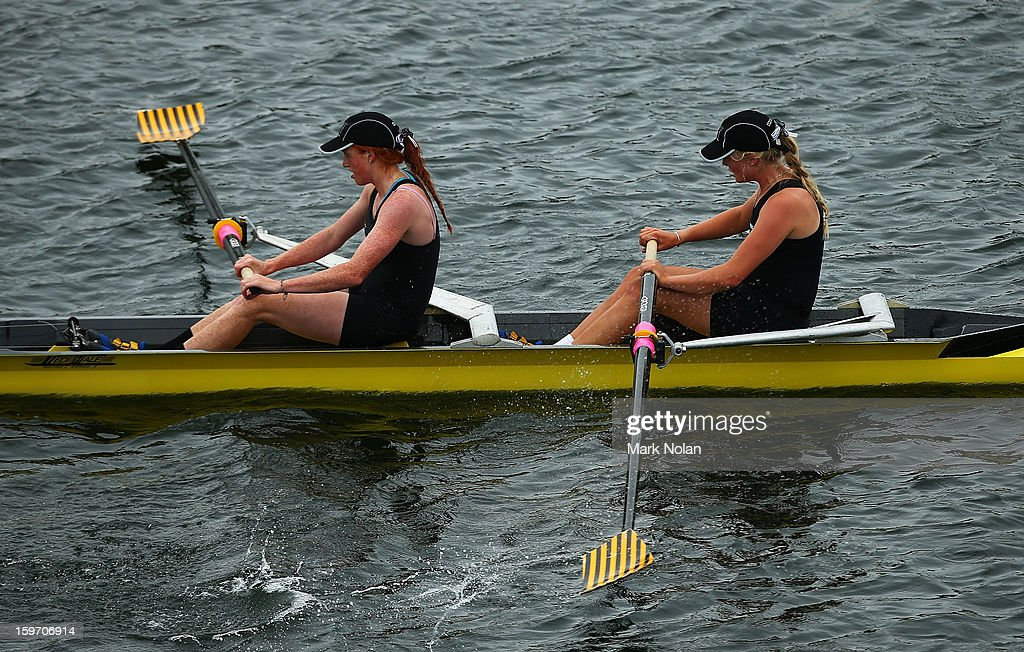 Emma Weith and Emma Dyke of New Zealand compete in the Women's Coxless Pair at the rowing on day four of the Australian Youth Olympic Festival at Sydney International Regatta Centre on January 19, 2013 in Sydney, Australia.
