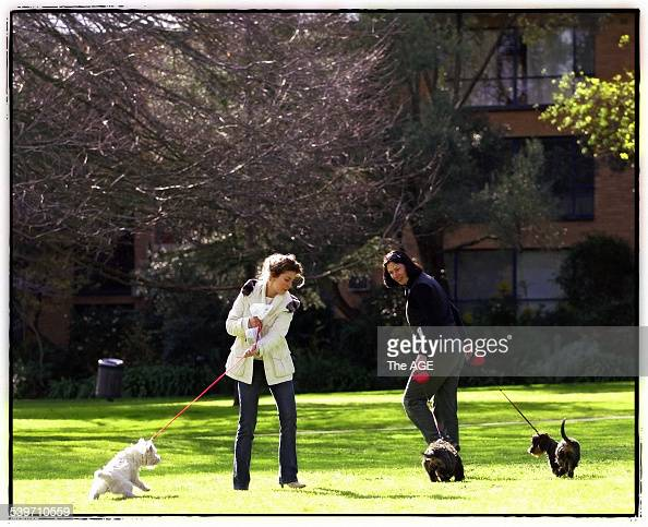 Emma Welsh [Right] walks Daisy and Harry in Rockley Gardens South Yarra 12 August 2005 THE AGE NEWS Picture by JOHN DONEGAN