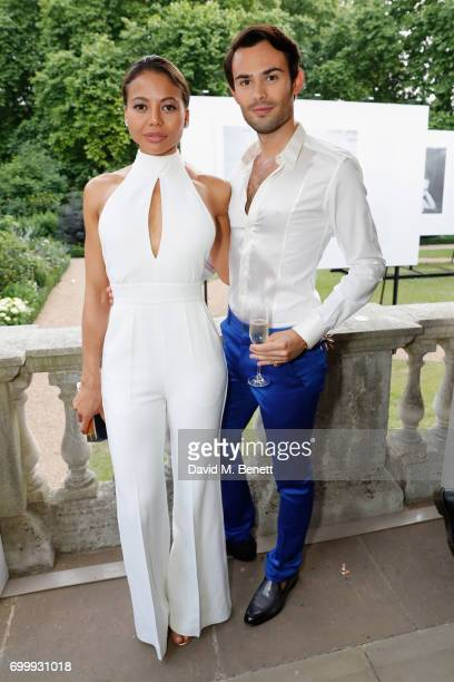 Emma Weymouth and MarkFrancis Vandelli attend Kate Moss Mario Sorrenti launch of the OBSESSED Calvin Klein fragrance launch at Spencer House on June...