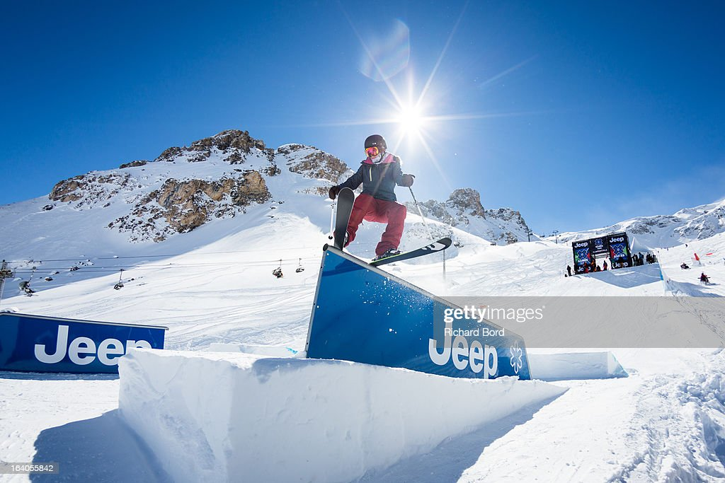 Emma Whitman of Canada competes during the Slopestyle ski trainings during day two of Winter X Games Europe 2013 on March 19, 2013 in Tignes, France.