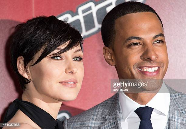 LONDON ENGLAND JANUARY 05 Emma Willis and Marvin Humes attend the launch of 'The Voice UK' Series 4 at The Mondrian Hotel on January 5 2015 in London...