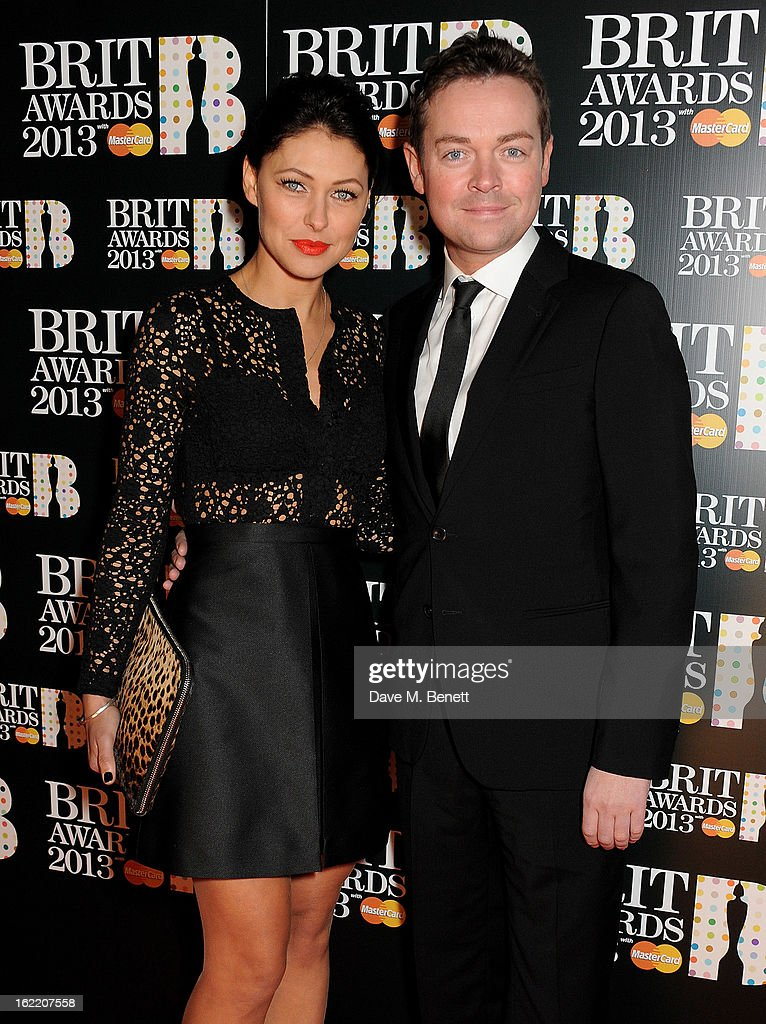 Emma Willis (L) and Stephen Mulhern arrive at the BRIT Awards 2013 at the O2 Arena on February 20, 2013 in London, England.