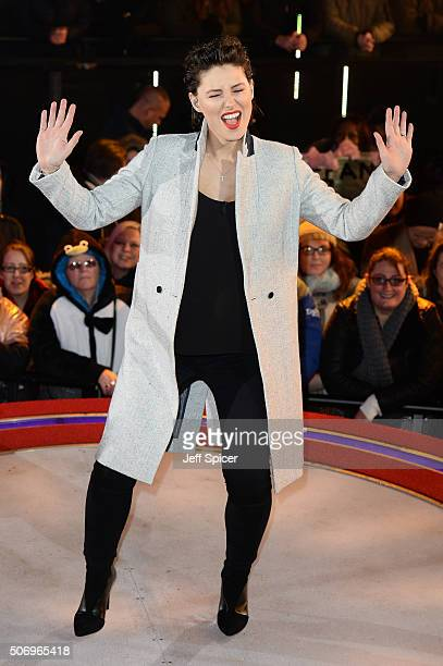 Emma Willis announces the 5th celebrity to be evicted from the Big Brother House at Elstree Studios on January 26 2016 in Borehamwood England