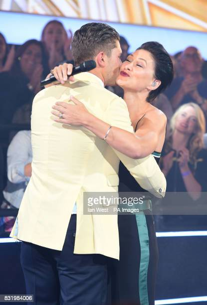 Emma Willis hugs Jordan Davies after he is evicted from the Celebrity Big Brother house at Elstree Studios in Borehamwood Hertfordshire