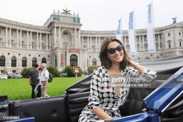 Emma Willis seen in a cab in front of imperial Hofburg palace on a sightseeing tour on May 20 2011 in Vienna Austria
