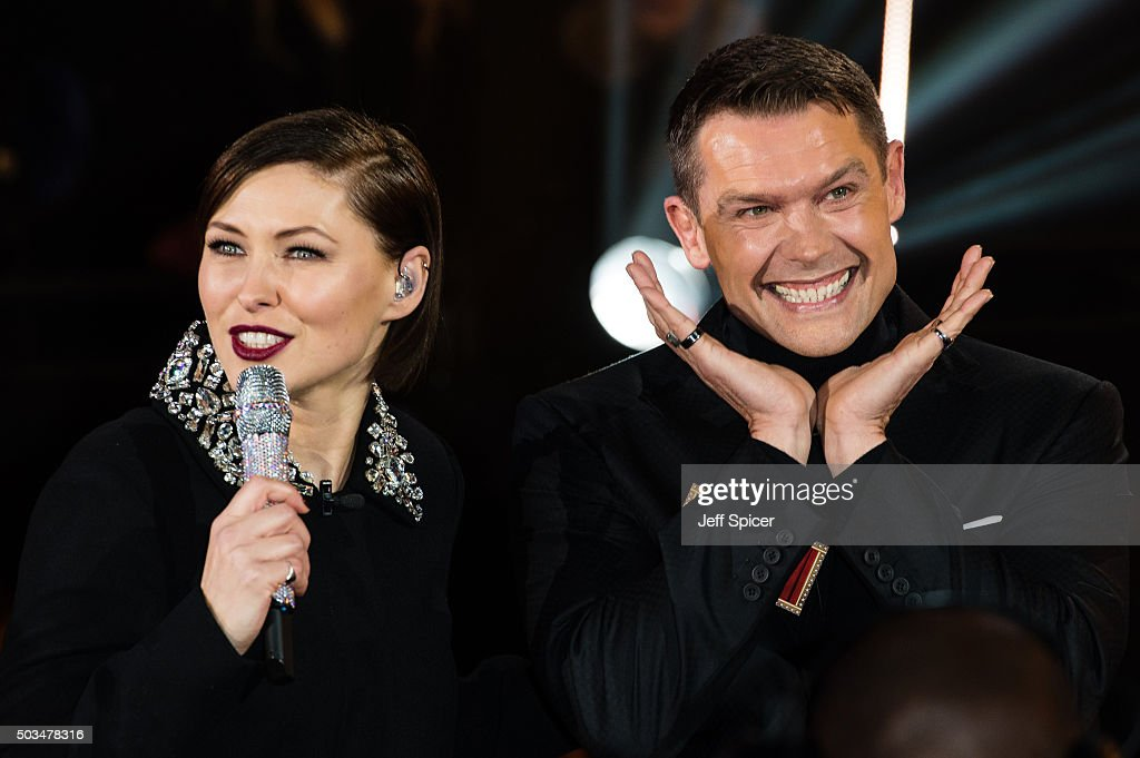Emma Willis talks to John Partridge as he enters the Celebrity Big Brother House at Elstree Studios on January 5 2016 in Borehamwood England