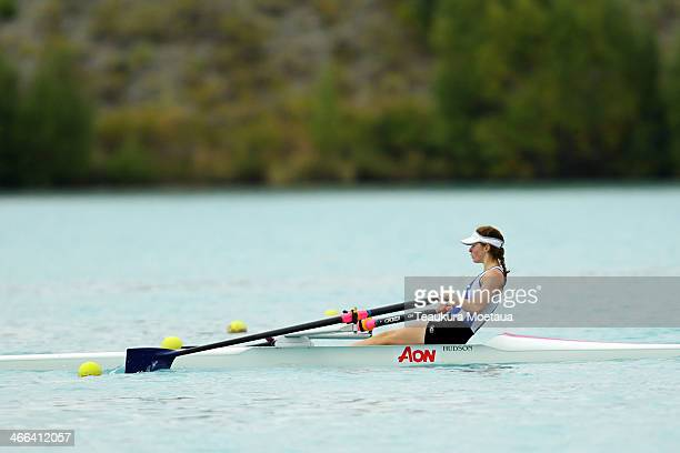 Emma Winders of Otago competes in the Womans under19 single sculls final during the South Island Club Championships at Lake Ruataniwha on February 2...
