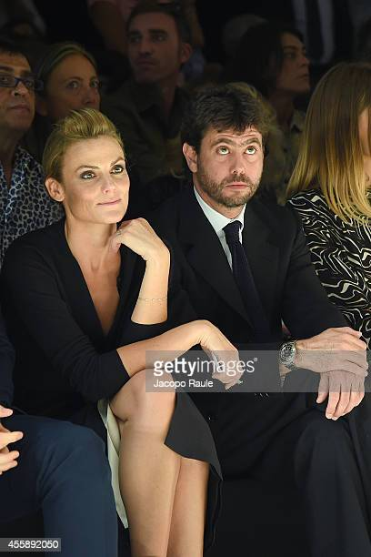 Emma Winter and Andrea Agnelli attend Trussardi Fashion Show during Milan Fashion Week Womenswear Spring/Summer 2015 on September 21 2014 in Milan...