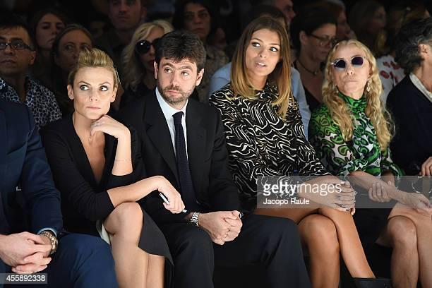 Emma Winter Andrea Agnelli Cristina Chiabotto and Franca Sozzani attend Trussardi Fashion Show during Milan Fashion Week Womenswear Spring/Summer...