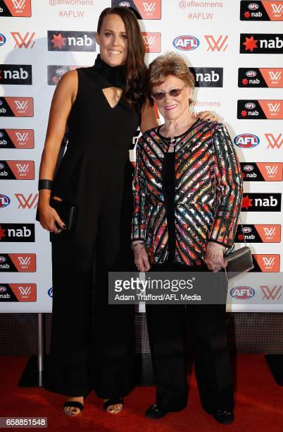Emma Zielke of the Lions arrives with family during the The W Awards at the Peninsula on March 28 2017 in Melbourne Australia