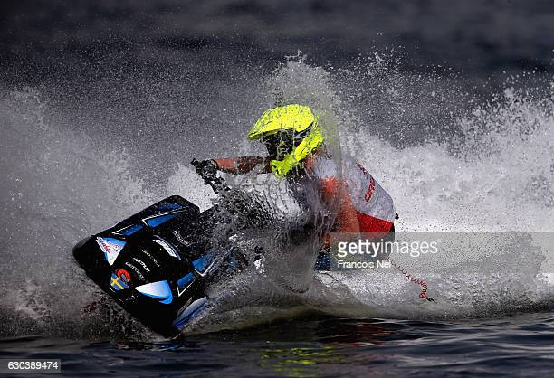 EmmaNellie Ortendahl of Sweden race in the Ski Ladies GP1 final during the Aquabike Class Pro Circuit World Championships Grand Prix of Sharjah at...