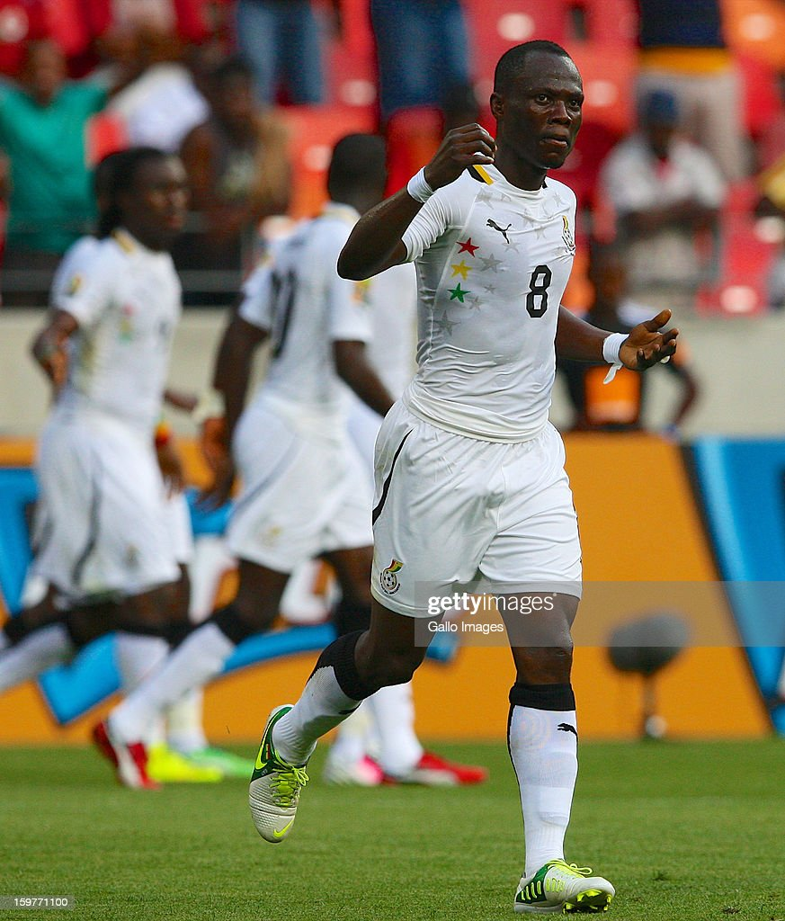 Emmanual Agyeman Badu of Ghana celebrates after scoring a goal during the 2013 African Cup of Nations match between Ghana and Congo DR at Nelson Mandela Bay Stadium on January 20, 2013 in Port Elizabeth, South Africa.