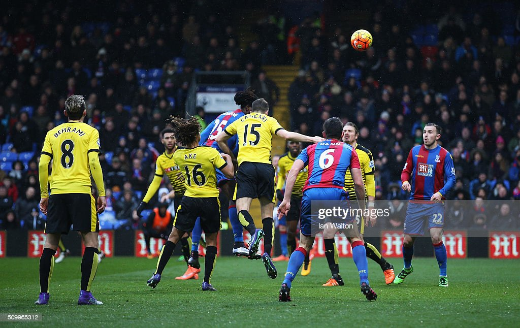 <a gi-track='captionPersonalityLinkClicked' href=/galleries/search?phrase=Emmanuel+Adebayor&family=editorial&specificpeople=484018 ng-click='$event.stopPropagation()'>Emmanuel Adebayor</a> (C) of Crystal Palace celebrates scoring his team's first goal during the Barclays Premier League match between Crystal Palace and Watford at Selhurst Park on February 13, 2016 in London, England.