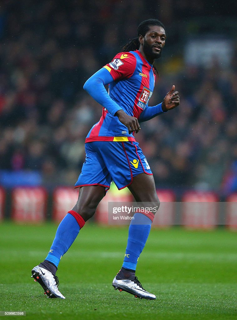 <a gi-track='captionPersonalityLinkClicked' href=/galleries/search?phrase=Emmanuel+Adebayor&family=editorial&specificpeople=484018 ng-click='$event.stopPropagation()'>Emmanuel Adebayor</a> of Crystal Palace in action during the Barclays Premier League match between Crystal Palace and Watford at Selhurst Park on February 13, 2016 in London, England.