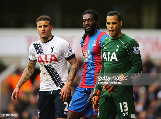 Emmanuel Adebayor of Crystal Palace looks on with Kyle Walker and Michel Vorm of Tottenham Hotspur during the Emirates FA Cup Fifth Round match...