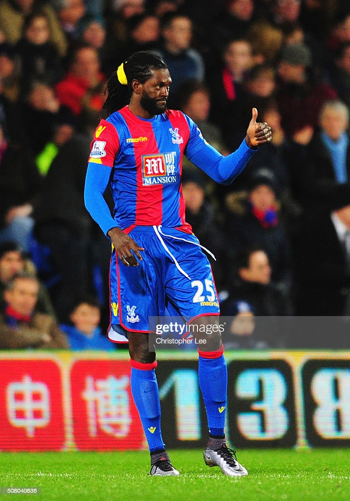 <a gi-track='captionPersonalityLinkClicked' href=/galleries/search?phrase=Emmanuel+Adebayor&family=editorial&specificpeople=484018 ng-click='$event.stopPropagation()'>Emmanuel Adebayor</a> of Crystal Palace thumbs up during the Barclays Premier League match between Crystal Palace and A.F.C. Bournemouth at Selhurst Park on February 2, 2016 in London, England.