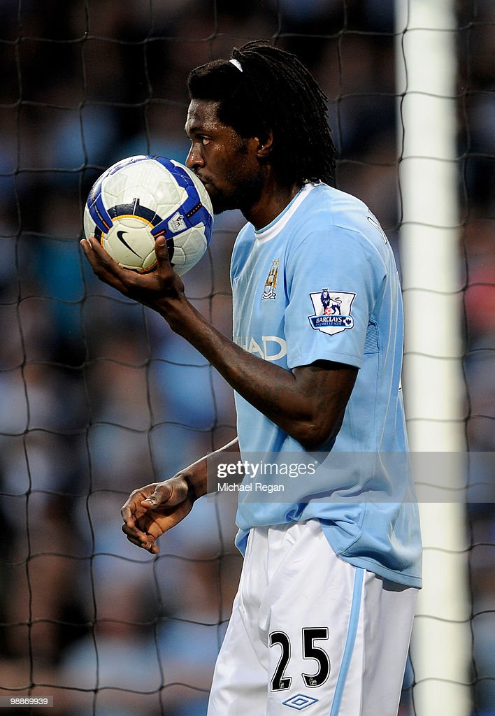 Emmanuel Adebayor of Manchester City retrieves the ball during the Barclays Premier League match between Manchester City and Tottenham Hotspur at the City of Manchester Stadium on May 5, 2010 in Manchester, England.