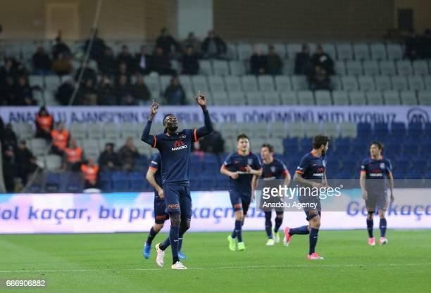 Emmanuel Adebayor of Medipol Basaksehir celebrates after scoring a goal during the Turkish Spor Toto Super Lig football match between Medipol...