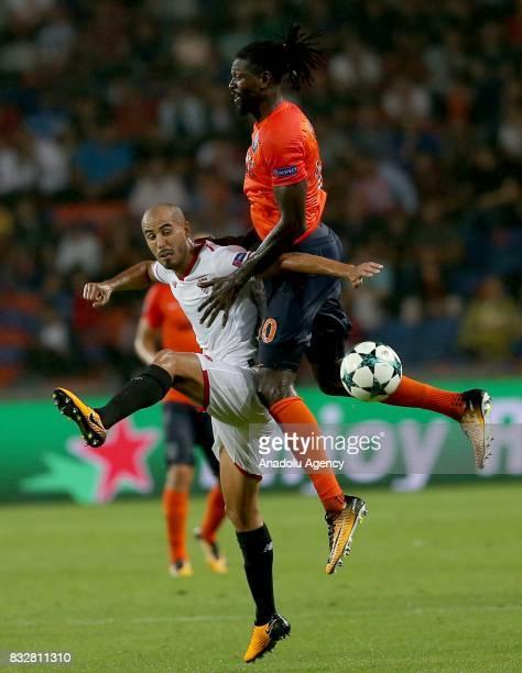 Emmanuel Adebayor of Medipol Basaksehir in action during the UEFA Champions League playoff match between Medipol Basaksehir and Sevilla FC at...