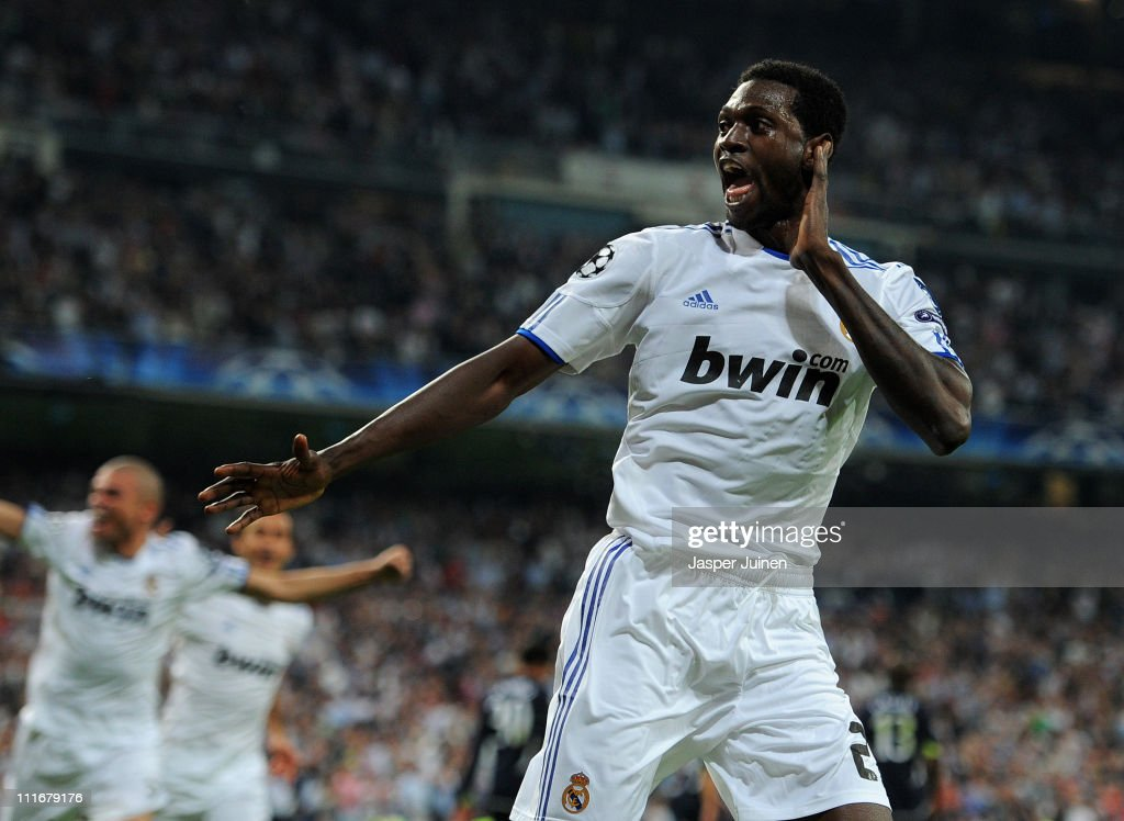 <a gi-track='captionPersonalityLinkClicked' href=/galleries/search?phrase=Emmanuel+Adebayor&family=editorial&specificpeople=484018 ng-click='$event.stopPropagation()'>Emmanuel Adebayor</a> of Real Madrid celebrates scoring his second goal during the UEFA Champions League quarter final first leg match between Real Madrid and Tottenham Hotspur at Estadio Santiago Bernabeu on April 5, 2011 in Madrid, Spain.