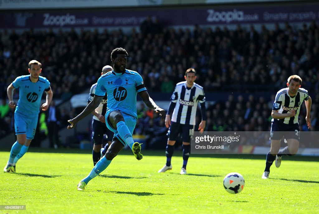 <a gi-track='captionPersonalityLinkClicked' href=/galleries/search?phrase=Emmanuel+Adebayor&family=editorial&specificpeople=484018 ng-click='$event.stopPropagation()'>Emmanuel Adebayor</a> of Spurs misses a with a penalty attempt during the Barclays Premier League match between West Bromwich Albion and Tottenham Hotspur at The Hawthorns on April 12, 2014 in West Bromwich, England.