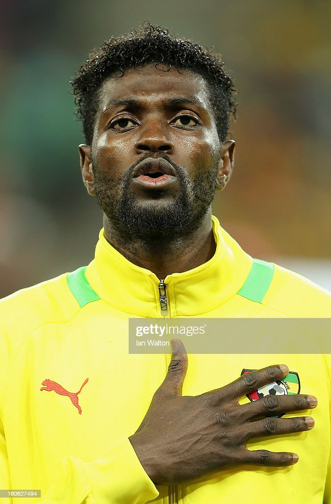 <a gi-track='captionPersonalityLinkClicked' href=/galleries/search?phrase=Emmanuel+Adebayor&family=editorial&specificpeople=484018 ng-click='$event.stopPropagation()'>Emmanuel Adebayor</a> of Togo during the 2013 Africa Cup of Nations Quarter-Final match between Burkina Faso and Togo at the Mbombela Stadium on February 3, 2013 in Nelspruit, South Africa.