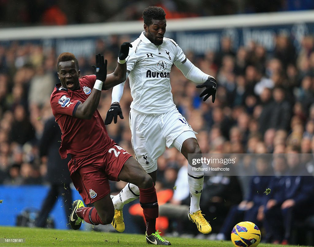 <a gi-track='captionPersonalityLinkClicked' href=/galleries/search?phrase=Emmanuel+Adebayor&family=editorial&specificpeople=484018 ng-click='$event.stopPropagation()'>Emmanuel Adebayor</a> of Tottenham holds off Cheik Tiote of Newcastle during the Barclay's Premier League match between Tottenham Hotspur and Newcastle United at White Hart Lane on February 9, 2013 in London, England.