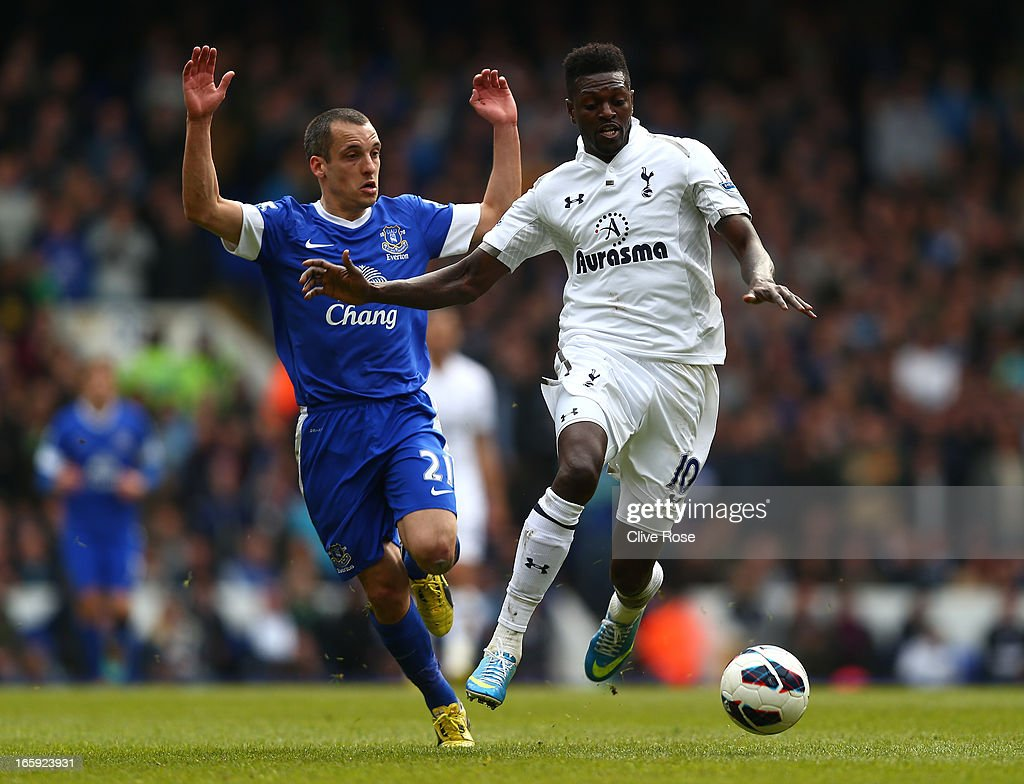 Emmanuel Adebayor of Tottenham Hotspur and Leon Osman of Everton battle for the ball during the Barclays Premier League match between Tottenham Hotspur and Everton at White Hart Lane on April 7, 2013 in London, England.