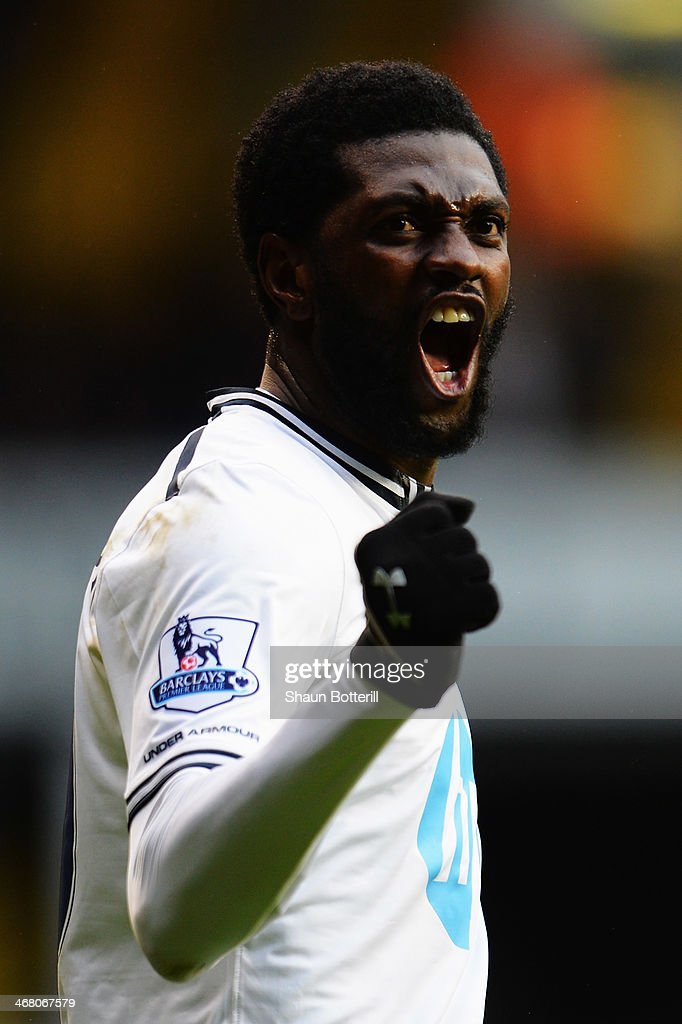 <a gi-track='captionPersonalityLinkClicked' href=/galleries/search?phrase=Emmanuel+Adebayor&family=editorial&specificpeople=484018 ng-click='$event.stopPropagation()'>Emmanuel Adebayor</a> of Tottenham Hotspur celebrates scoring during the Barclays Premier League match between Tottenham Hotspur and Everton at White Hart Lane on February 9, 2014 in London, England.