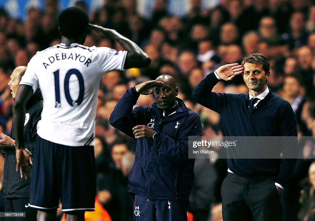 <a gi-track='captionPersonalityLinkClicked' href=/galleries/search?phrase=Emmanuel+Adebayor&family=editorial&specificpeople=484018 ng-click='$event.stopPropagation()'>Emmanuel Adebayor</a> of Tottenham Hotspur celebrates scoring his second goal with <a gi-track='captionPersonalityLinkClicked' href=/galleries/search?phrase=Tim+Sherwood&family=editorial&specificpeople=4503354 ng-click='$event.stopPropagation()'>Tim Sherwood</a> (R), manager of Tottenham Hotspur and <a gi-track='captionPersonalityLinkClicked' href=/galleries/search?phrase=Chris+Ramsey+-+Soccer+Player&family=editorial&specificpeople=14012229 ng-click='$event.stopPropagation()'>Chris Ramsey</a> during the Barclays Premier League match between Tottenham Hotspur and Sunderland at White Hart Lane on April 7, 2014 in London, England.