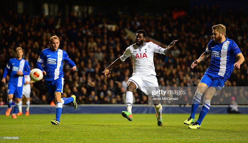 <a gi-track='captionPersonalityLinkClicked' href=/galleries/search?phrase=Emmanuel+Adebayor&family=editorial&specificpeople=484018 ng-click='$event.stopPropagation()'>Emmanuel Adebayor</a> of Tottenham Hotspur scores their third goal during the UEFA Europa League Round of 32 second leg match between Tottenham Hotspur and FC Dnipro Dnipropetrovsk at White Hart Lane on February 27, 2014 in London, England.