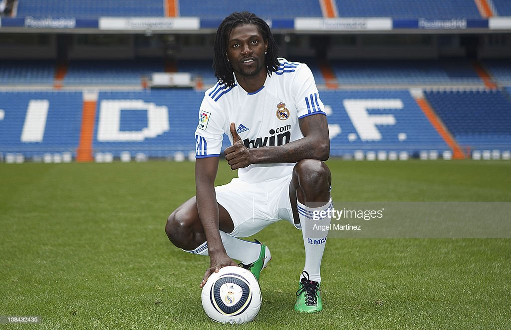 <a gi-track='captionPersonalityLinkClicked' href=/galleries/search?phrase=Emmanuel+Adebayor&family=editorial&specificpeople=484018 ng-click='$event.stopPropagation()'>Emmanuel Adebayor</a> poses during his presentation as a new Real Madrid player at Estadio Santiago Bernabeu on January 27, 2011 in Madrid, Spain.