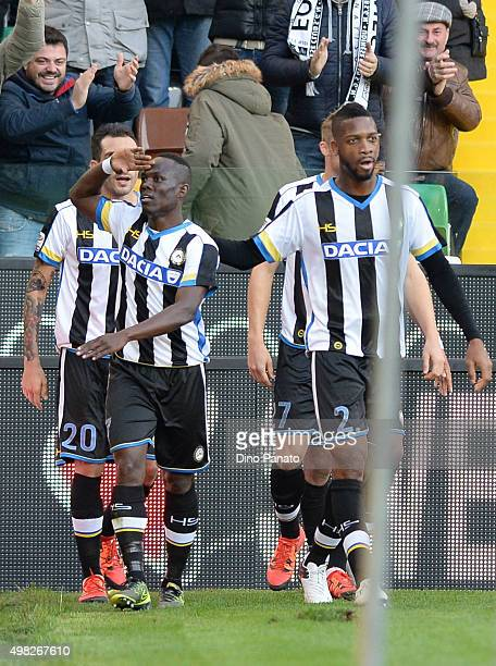 Emmanuel Agyemang Badu of Udinese Calcio celebrates after scoring his opening goal during the Serie A match between Udinese Calcio and UC Sampdoria...