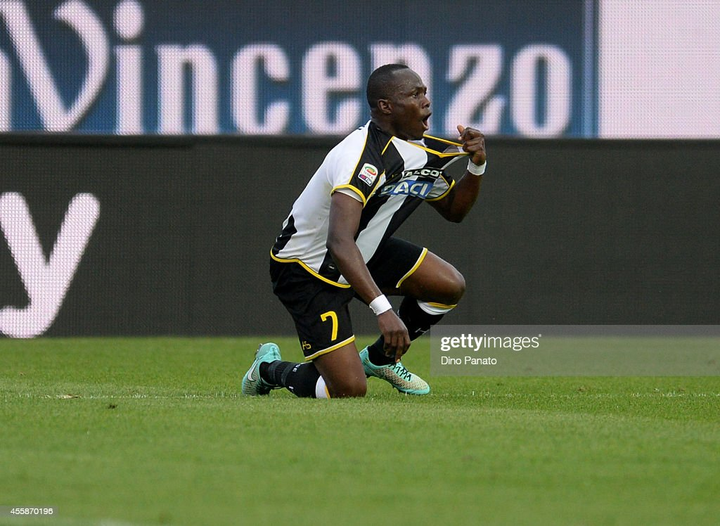 Emmanuel Agyemang Badu of Udinese Calcio reacts during the Serie A match between Udinese Calcio and SSC Napoli at Stadio Friuli on September 21, 2014 in Udine, Italy.