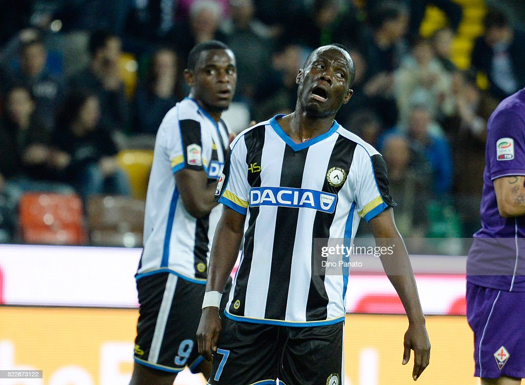 Emmanuel Agyemang Badu of Udinese calcio reacts during the Serie A match between Udinese Calcio and ACF Fiorentina at Stadio Friuli on April 20, 2016 in Udine, Italy.