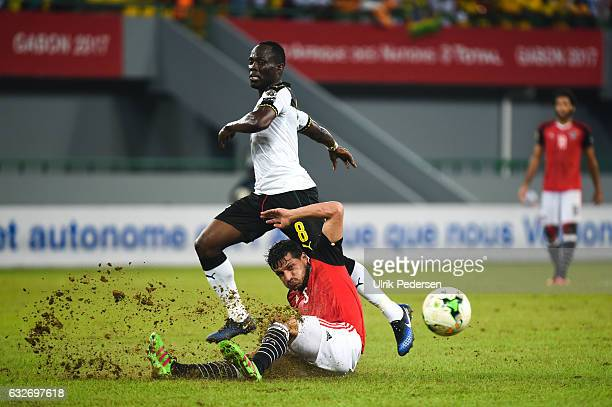 Emmanuel Badu Agyeman of Ghana and Ahmed Hegazi of Egypt during the African Nations Cup match between Egypt and Ghana on January 25 2017 in Port...