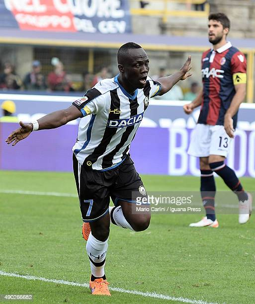 Emmanuel Badu of Udinese Calcio celebrates after scoring a goal during the Serie A match between Bologna FC and Udinese Calcio at Stadio Renato...