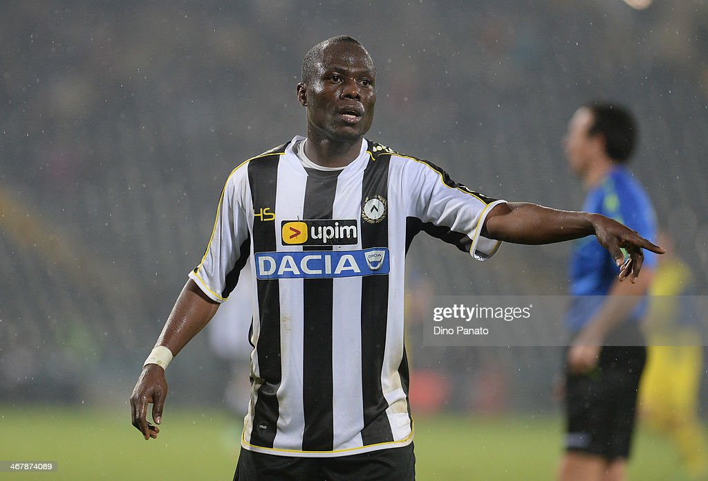 Emmanuel Badu of Udinese Calcio gestures during the Serie A match between Udinese Calcio and AC Chievo Verona at Stadio Friuli on February 8, 2014 in Udine, Italy.