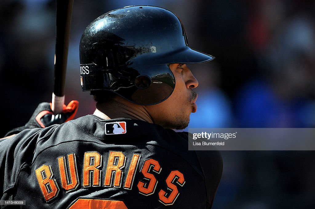 <a gi-track='captionPersonalityLinkClicked' href=/galleries/search?phrase=Emmanuel+Burriss&family=editorial&specificpeople=590006 ng-click='$event.stopPropagation()'>Emmanuel Burriss</a> #2 of the San Francisco Giants prepares to bat against the Kansas City Royals on March 12, 2012 in Surprise, Arizona.