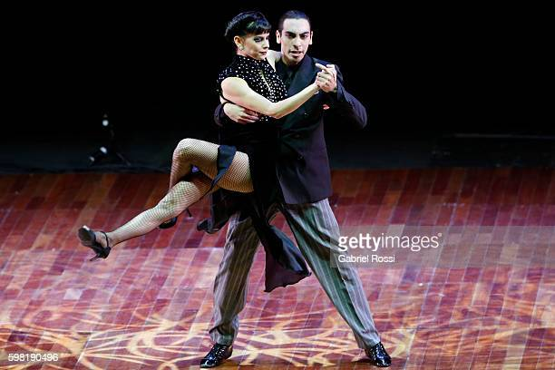 Emmanuel Casal and Yanina Mazyka of Argentina dance during the Stage Tango Final as part of Buenos Aires Tango Festival World Championship 2016 at...