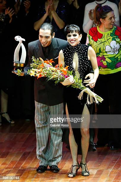 Emmanuel Casal and Yanina Muzyka of Argentina celebrate after winning the second place on the Stage Tango Final as part of Buenos Aires Tango...