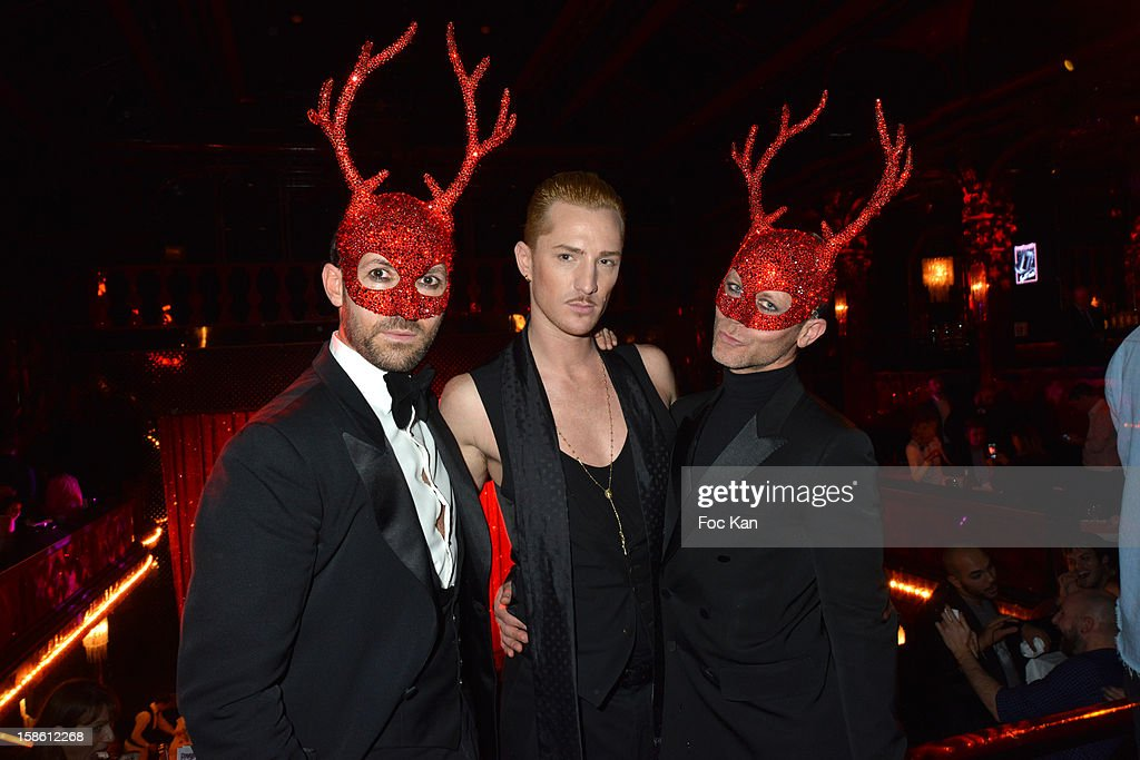 Emmanuel d' Orazio, William Camimolla from ' Belle Toute Nue' and Marc Zaffuto attend the 'Joyeux Paradis' Party by Emmanuel d'Orazio & Marc Zaffuto at Le Paradis Latin on December 20, 2012 in Paris, France.