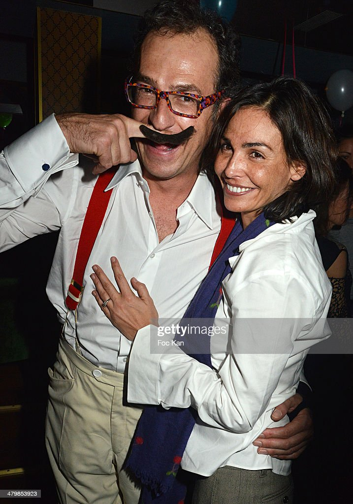 Emmanuel De Brantes and Ines Sastre attend the 'Moustache Party' Emmanuel De Brantes Birthday Party At Le Bus Restaurant on March 20 2014 in Paris...