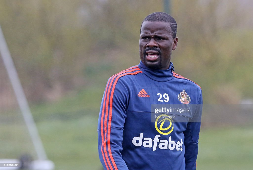 Emmanuel Eboue during a Sunderland training session at the Academy of Light on March 15, 2016 in Sunderland, England.