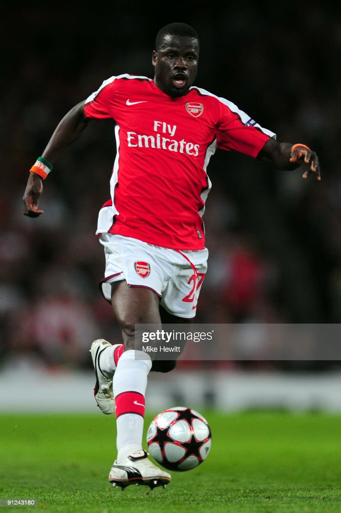 <a gi-track='captionPersonalityLinkClicked' href=/galleries/search?phrase=Emmanuel+Eboue&family=editorial&specificpeople=564874 ng-click='$event.stopPropagation()'>Emmanuel Eboue</a> of Arsenal in action during the UEFA Champions League Group H match between Arsenal and Olympiakos at the Emirates Stadium on September 29, 2009 in London, England.