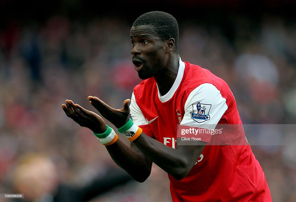 Emmanuel Eboue of Arsenal protests to the linesman during the Barclays Premier League match between Arsenal and Birmingham City at Emirates Stadium on October 16, 2010 in London, England.