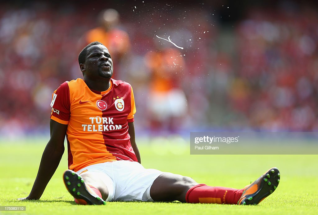 <a gi-track='captionPersonalityLinkClicked' href=/galleries/search?phrase=Emmanuel+Eboue&family=editorial&specificpeople=564874 ng-click='$event.stopPropagation()'>Emmanuel Eboue</a> of Galatasaray during the match between Galatasaray and FC Porto at Emirates Stadium on August 3, 2013 in London, England.