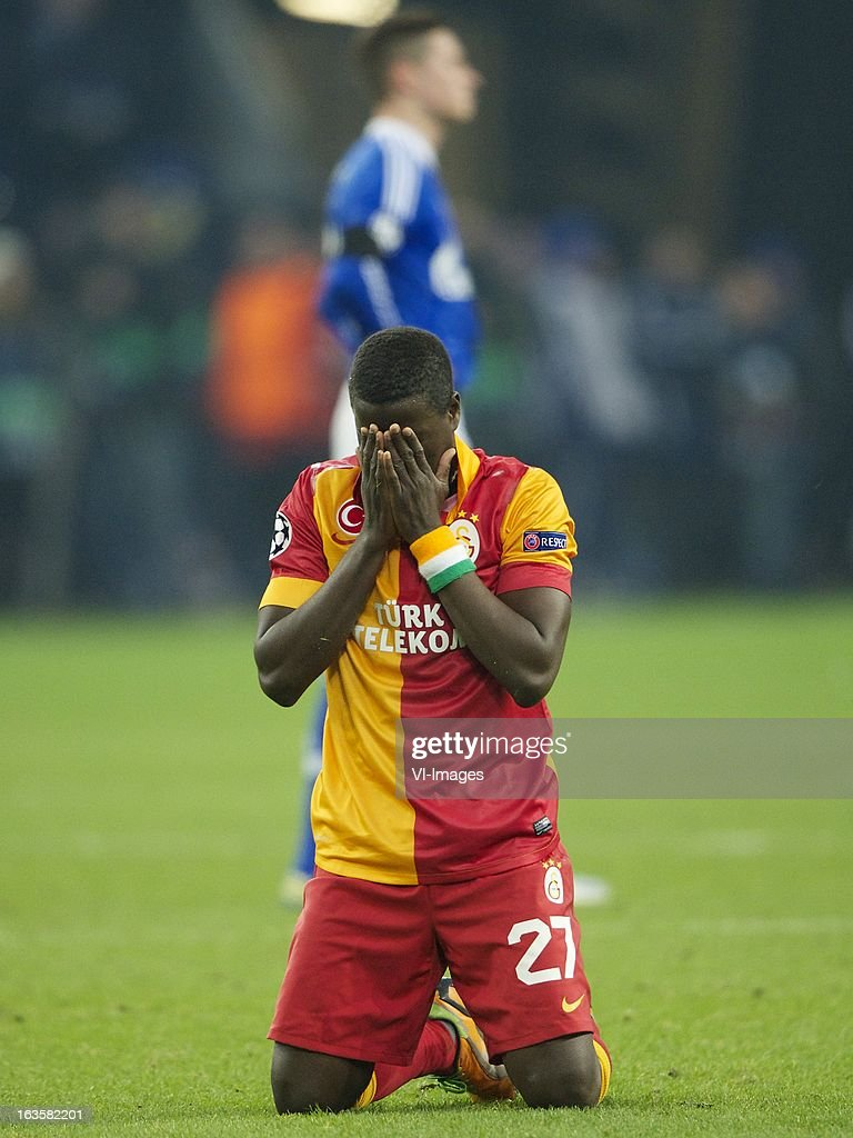 Emmanuel Eboue of Galatasaray during the UEFA Champions League match between Schalke 04 and Galatasaray on March 12, 2013 at the Veltins-Arena at Gelsenkirchen, Germany.
